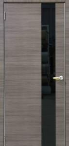Межкомнатная дверь Ольха 504 стекло черное ДО (Экошпон)
