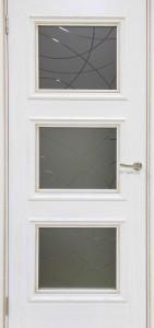 Межкомнатная дверь Квадро-1 Эмаль бронза ДО (Шпон)