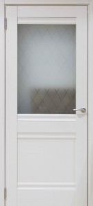 Межкомнатная дверь GLOSS 587 Белый глянец со стеклом ромб